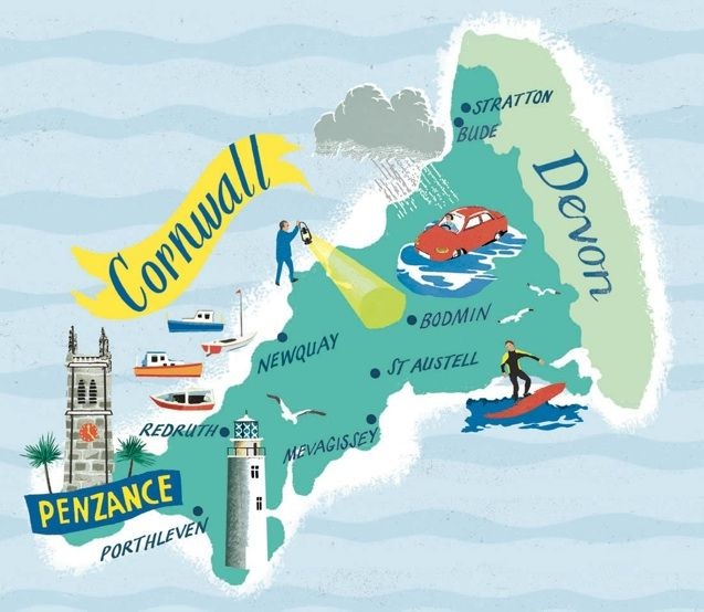 Anna Simmons - map of Cornwall