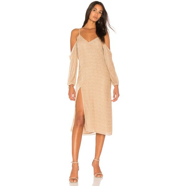 Michelle Mason Drop Shoulder Slip Dress (8 830 ZAR) ❤ liked on Polyvore featuring dresses, viscose dresses, cut-out dresses, rayon dress, beige dress and cutout sleeve dress