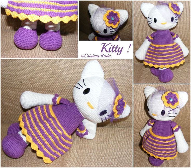 online jewelry store Crochet Hello Kitty amigurumi toy  cute Kitty  Hello Kitty purple and yellow  doll toy  Kitty with purple dress and flower  children  39 s Day   pinned by pin4etsy com