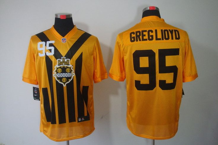 Men's Pittsburgh Steelers #95 Greg Lloyd 1933 Yellow Throwback Jersey