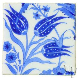 Iznik Tile - blue tulips