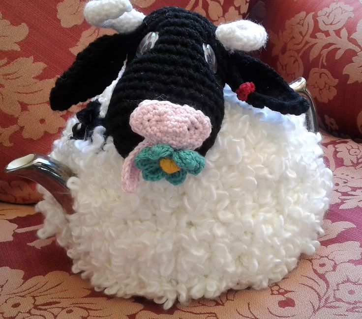 Moo-Riel Cow Tea Cosy - Great Range of Tea Cosies and Tissue Box Cosies all Uniquely designed by Bar-Bar-A-Black Sheep. Sheep, Goats, Cows, Elephants, Cats, - In stock or made to order in Wool, Alpaca, Acrylic or Cotton.  For sale on etsy.com barbarablacksheepau or Madeit.com barbarablacksheep.