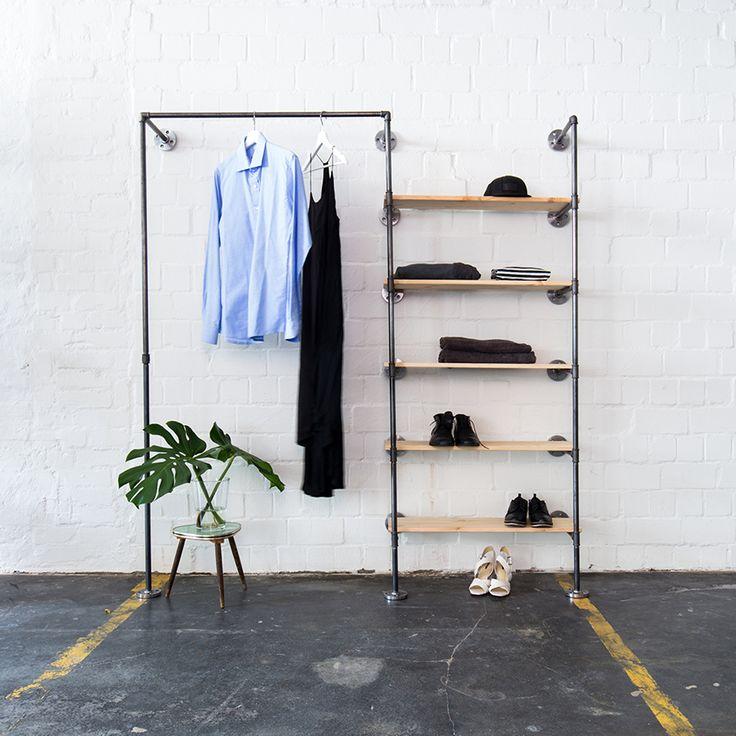 Offener Kleiderschrsank · Scandi Chic · Minimalistic Look · Steel Pipes ·  Stahlrohrmöbel · Stahlrohr · Industrial Design · Industriedesign ·  Einrichtung Aus ...