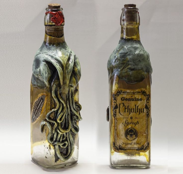 Cthulhu Bottle Vintage Lovectaftian Syrup