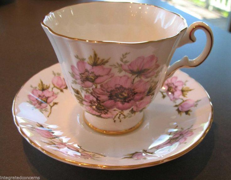 Royal Grafton 1781 English Fine Bone China Wild Rose Teacup Cup & Saucer Duo Set