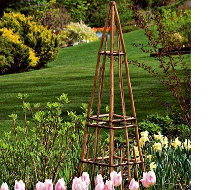 Rustic Twig Tower. Garden StructuresTrellisFlower GardeningHardwoodVinesTowersNatural  ...