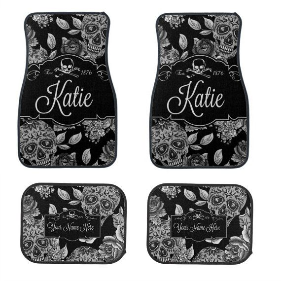 """Car Mats Sugar Skull Personalized Keep your car floors protected in style with matching front and rear car mats. Made with a polyester surface and a non-skid Durgan backing, these mats are easy to clean and guaranteed to endure dirt and spills. Dimensions: 17"""" x 27"""" (front mats), 17"""" x"""