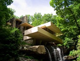 Another shot of Frank Loyd Wright's Fallingwater - Fallingwater is located in Southwestern Pennsylvania's Laurel Highlands, just over an hour from downtown Pittsburgh, PA.