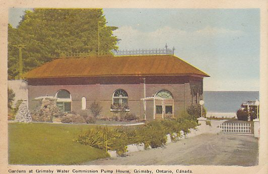 Gardens at Grimsby Water Commission Pump House, Grimsby,  Ontario, Canada - U.S. Postage Due