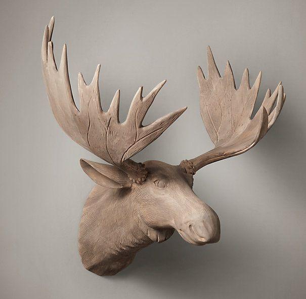 Hand-Carved Wood Moose Trophy Head | Carved Horns & Antlers | Restoration Hardware