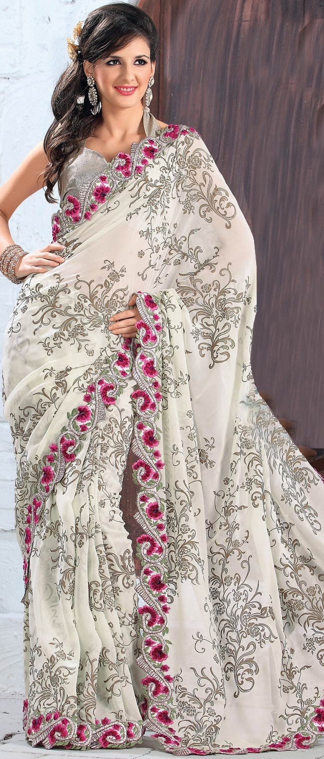 Cream Faux Georgette,  Saree with Blouse