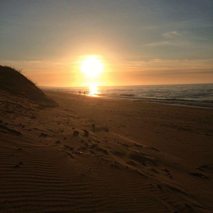 Sunset Leba Poland sea
