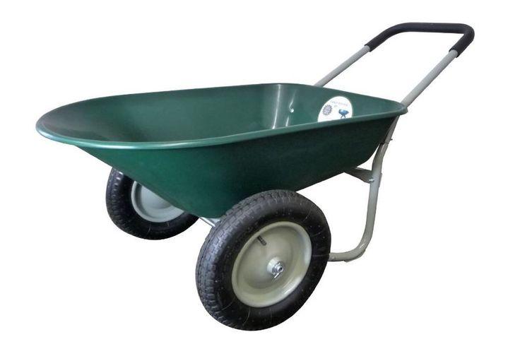 Plastic Wheelbarrow 2 Wheel 5 Cubic Ft Poly Tray Residential Marathon Yard Rover #Marathon