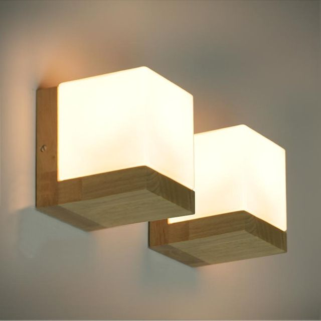 Modern Brief Oak Wood Cube Sugar Shade Wall Lamp Bedroom Bedside Wooden Glass Wall Sconce Bar