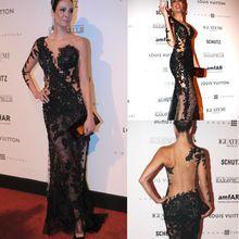 Heiße Verkäufe Oscar Roter Teppich Illusion Spitze Nixe-langes Abendkleid Eine Schulter Schwarz Durchsichtig Sexy Celebrity Kleider //Price: $US $149.00 & FREE Shipping //     #clknetwork