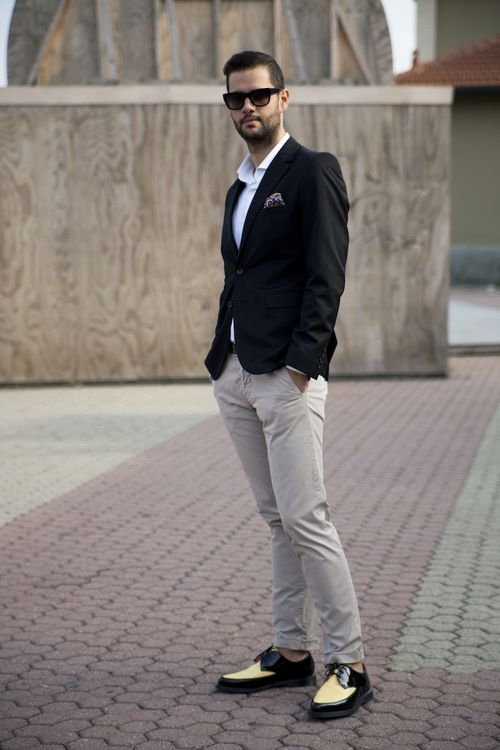 White Polo Khaki Pants Black Jacket Adding Separates To