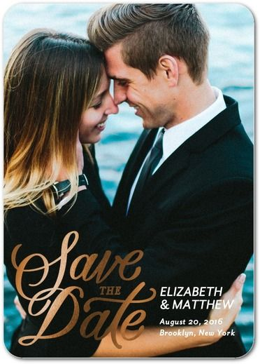 Simply Shimmering - Signature Foil Save the Dates - Petite Alma - White : Front