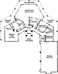love the covered patio all around small santa fe style house plans santa fe - Pueblo Style Home Plans
