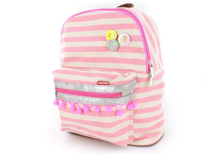 Shoesme rugzak roze gestreept canvas - BAG7A024-A