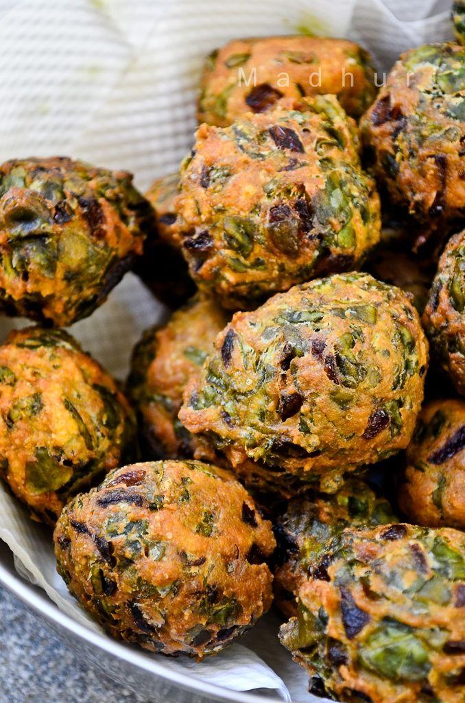 Palak Pakoras-my childhood favorite with mom made chutney!