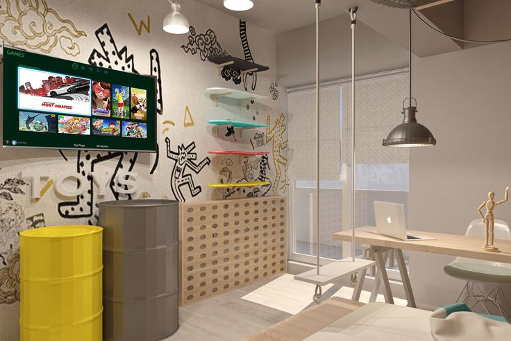 #boysbedroom #childrenfurniture #green #foamsea #grey #shelves #wood #desk #green #ceilinglamp #wood #ambientallight #chair #brickwall #yellow #white #beige #metal