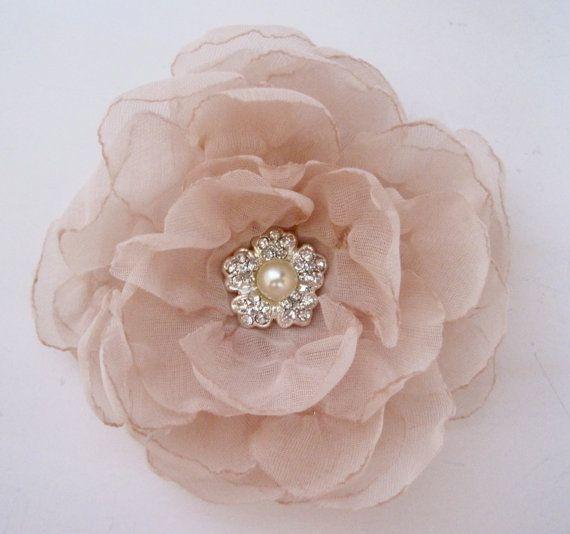 Elegant  Champagne Chiffon Bridal Wedding Flower by theraggedyrose, $28.95