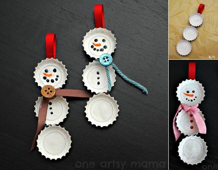 snowman :) here is a ornament Tommy would be into! you could flip them around with magnets in them for the frig!