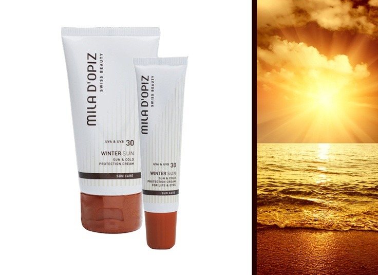 Mila d'Opiz Australia - Swiss Sun Care. Sun and Cold Protection Cream and Lips/Eye Cream SPF 30. 2 in 1 sun cream with integrated cold protection. Preserves skin, lips and eye zones from drying out by cold and UV-rays.