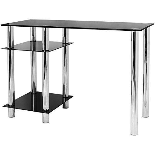 Hartleys Black Glass Computer Desk with Shelves
