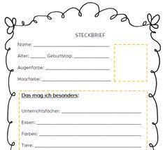 Diesen Steckbrief nutze ich zu Schulanfang als Grundlage für eine Personenbeschreibung. Es gibt ihn in 3 verschiedenen Schwierigkeitsstufen....