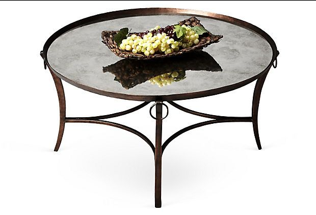 Frasier mirrored cocktail table bronze cas cocktails for Frasier coffee table
