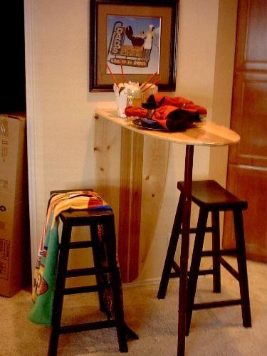 www.sharkshacksurfboardfurnishings.com  Cute surfboard table and stools.