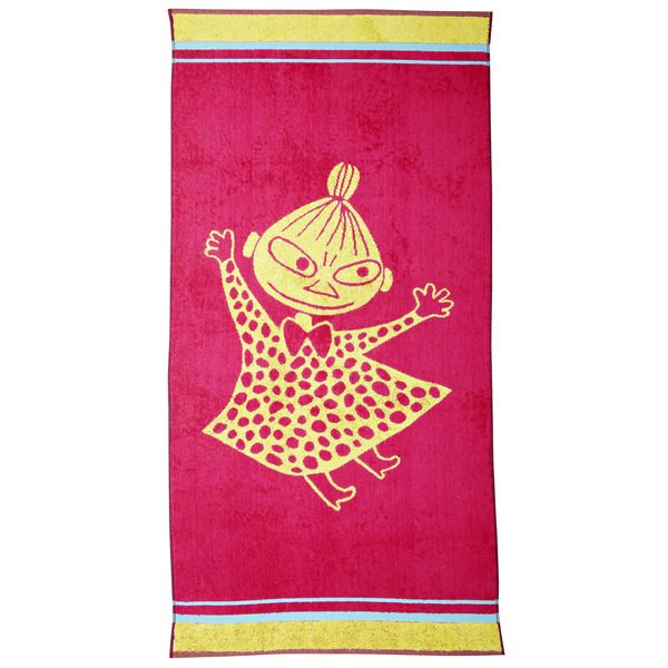 Pink and yellow, bubbly towel featuring Little My. Take a leap into the adventure, and enjoy your lovely bath moments. Moomin-towels are inspired by Tove Jansson's original drawings and are authentic ©Moomin Characters™ licensed products.