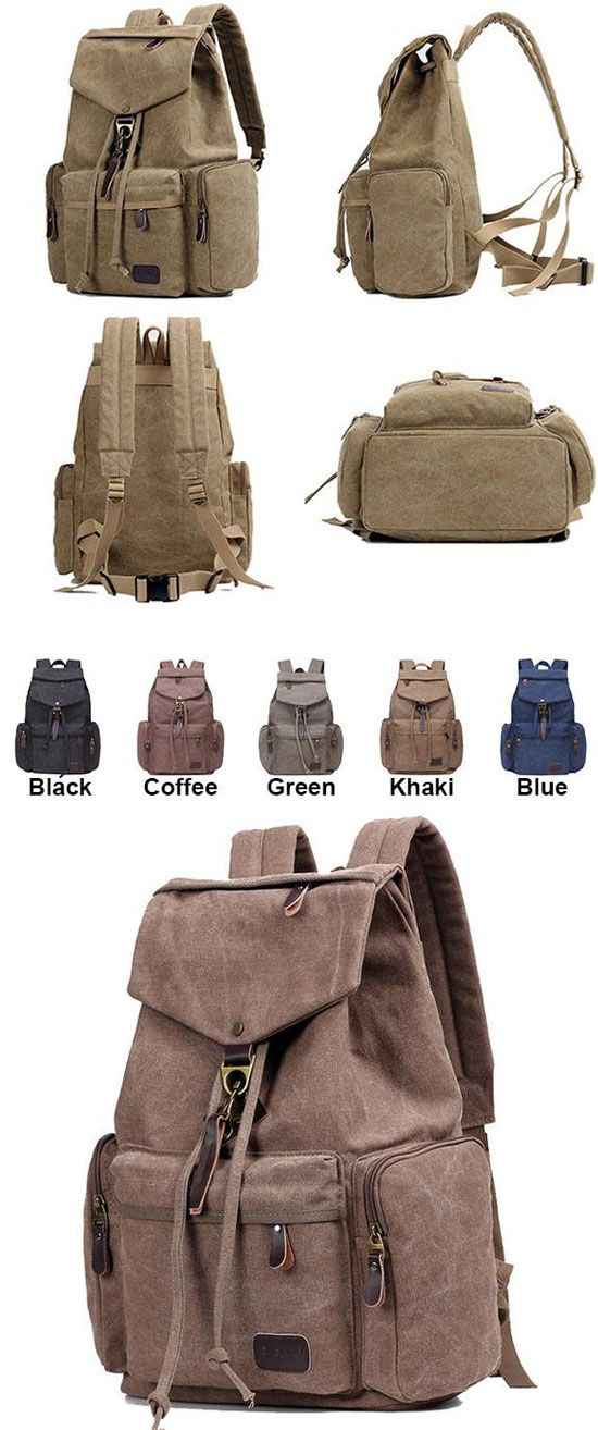 Which color do you like? Retro Flap Metal Lock Large Capacity Backpack Travel Backpack Canvas Men's School Rucksack #retro #canvas #school #men #backpack #bag #rucksack #travel
