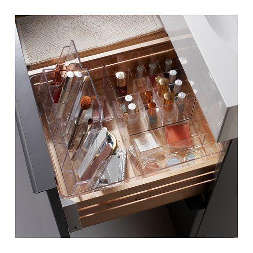 Boîte acrylique IKEA à glisser dans un tiroir pour ranger le maquillage  http://www.homelisty.com/rangement-maquillage/