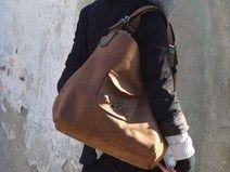 bruine lederen handtas tas handgemaakt door ladybu