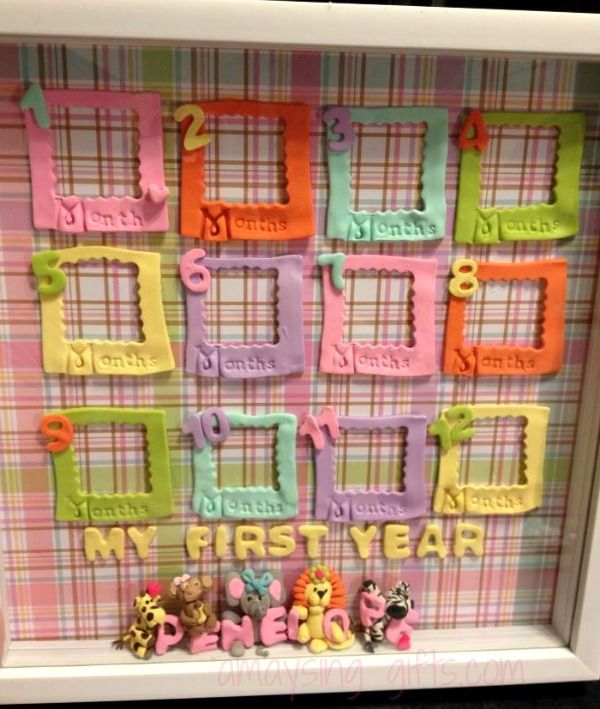 My First Year Shadowbox Picture Frame. Keep up with your baby's growth over their first year with this photo frame. Each little frame hold a photo of your baby at each month of their first year. Each Shadowbox can be customized with Baby theme, Name or Favorite Cartoon Characters.