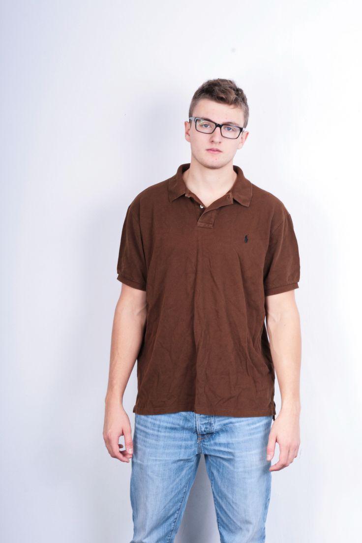 Polo by Ralph Lauren Mens 2XL Polo Shirt Brown Slim Fit Cotton XXL