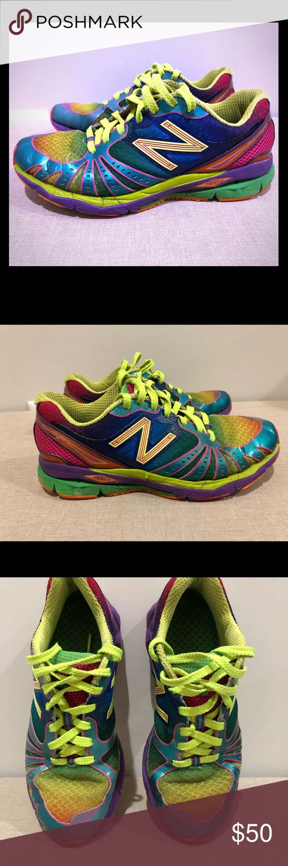 New Balance Barringer 890 revlite rainbow size 7.5 Oh my gosh. These super hard to find New Balance Barringer 890 Revlite Rainbow's were well loved and the most complimented shoes I've ever owned. I just don't wear them anymore. Retail around $135. *rare* New Balance Shoes Athletic Shoes