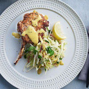 Neil Perry Recipe - Crumbed pork cutlet with sautéed apples, potatoes and sage.
