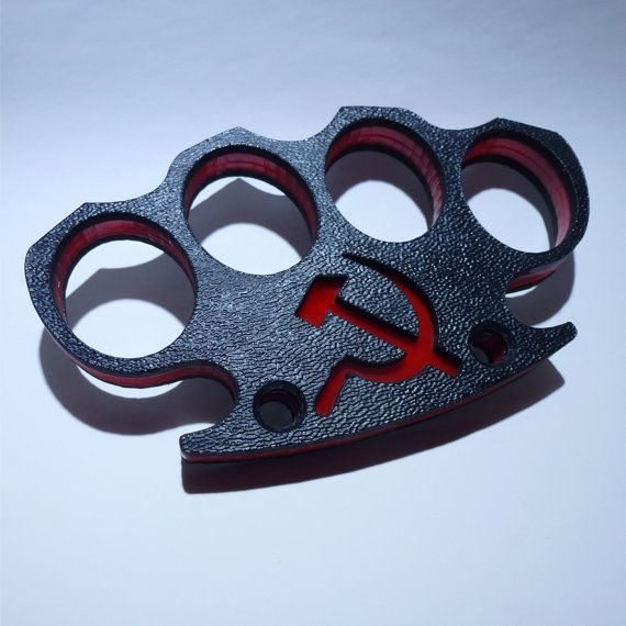 Commie Bastard. Acrylic and Kydex Composite Plastic Knuckle Duster, Soviet Russian hammer and sickle logo.