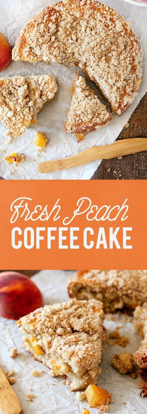This Fresh Peach Coffee Cake is the perfect way to show off the season's juiciest peaches. Whether you pair it with your morning coffee or save it for dessert, it will be hard to eat just one slice. #cake #peach