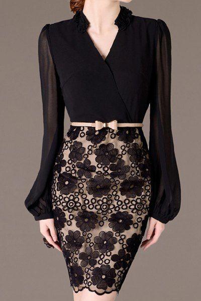 Elegant V-Neck Lantern Sleeve Embroidered Dress For Women