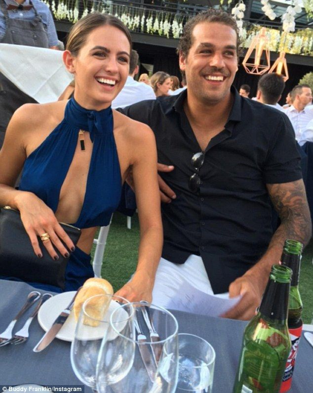 In love: Jesinta Campbell and Buddy Franklin were the picture of happiness as they shared photographs from a friend's wedding over thr weekend