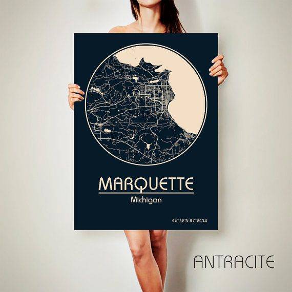 MARQUETTE Michigan CANVAS Map Marquette Michigan by ArchTravel