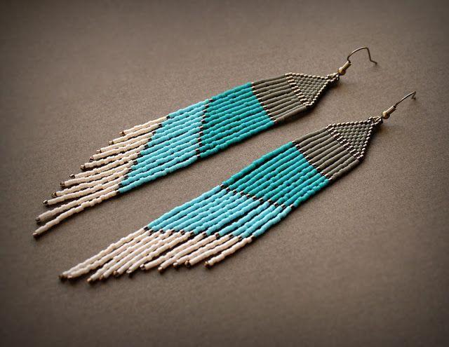 Очень длинные серьги из бисера. Оригинальные украшения из бисера в этно-стиле #украшенияотAnabel