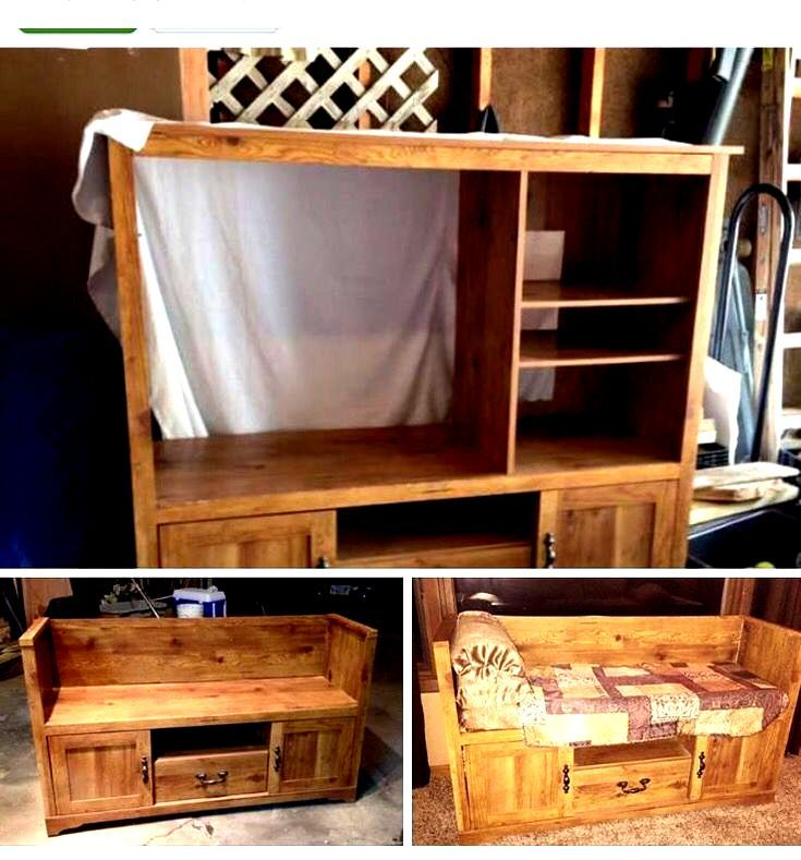 Entertainment Center Turned Bench Bench Center Decoraroundtv Entertainment Entertainmentcenterde In 2020 Entertainment Center Repurpose Diy Entertainment Center