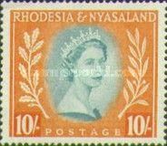 Rhodesia and Nyasaland, 1.7.1954, Queen Elizabeth II. No.15 10Sh reddish orange/bluish green, Stamped 16,63 USD, Mint Condition 27,72 USD.
