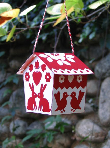 Free Printable from Made with Love by Hannah.: Printable Templates, Birds Houses, Paper Ornaments, Paper Boxes, Houses Printable, Bird Houses, Christmas Ornaments, Paper Houses, Critter Birdhouses