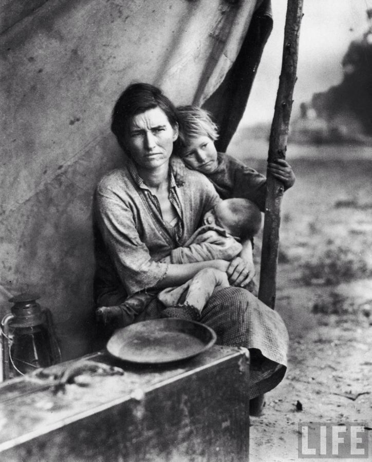 Florence Owens Thompson, a migrant worker mother, in California 1936. It has become an iconic image of that age. The Great Depression and Dust Bowl era of American history captured some powerful images.